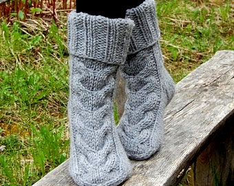 Cable knit slipper socks, Knitted Wool Slippers, Slipper Boots, Bed Socks, Knit Stocking, Indoor socks, Clogs,  socks for home