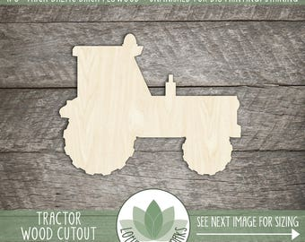 Wood Tractor Shape, Unfinished Wood Tractor Laser Cut Shape, DIY Craft Supply, Many Size Options