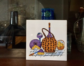 Retro Mid Century Trivet / Tile - Cheery Orange and Purple Wine and Cheese Graphic, Made in Japan