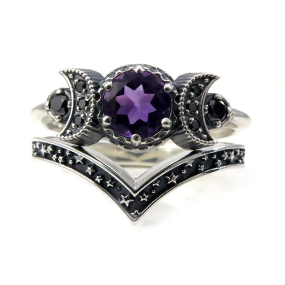 Triple Moon Ring Set - Pick Your Center Stone - Sterling Silver and Black Diamond Engagement