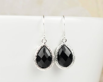 Black Silver Framed Teardrop Earrings, Black Silver Dangle Earrings, Silver Earrings, Bridal Earrings, Black Silver Earrings