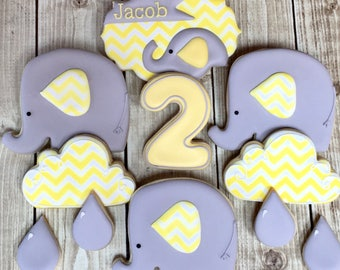 1 Dozen Decorated Cookies Elephant Baby Shower Birthday