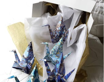 Origami Paper Crane decorations - wedding decor - birthday - party decor - favors - baby shower - blue, gold, white, green, black KC-ST