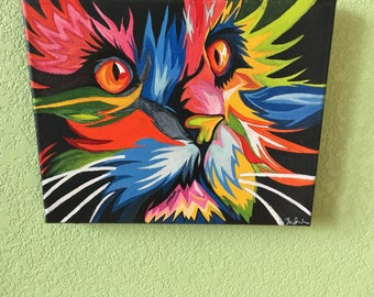 Neon Acrylic Cat Painting