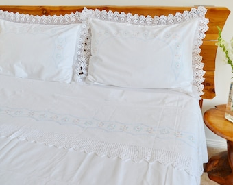 French Linen Bed Sheet Set, 3 Pcs,  Pillowcases Cotton, Queen/King Size Crochet Lace Shabby Chic Decor Wedding Gift White #makeforgood