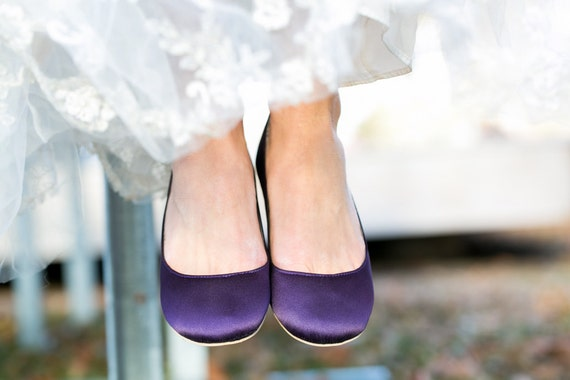 Purple FlatsPurple Wedding Shoes FlatsFlat Bridal FlatsSatin FlatsGiftBridal ShoeFlats With Ivory Lace