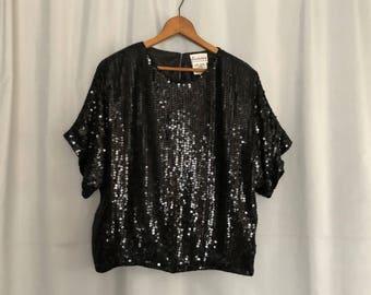 Black Sequin Blouse Vintage Sparkle Silk Shirt Party Boho Women's Small