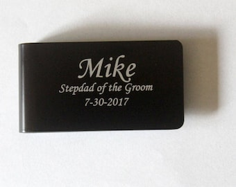 Stepfather of the groom gift, Personalized money clip, Father of the bride or groom gift, Groomsman money clip, Money clip, Money wallet