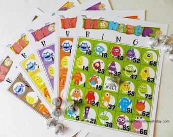 25 Halloween Bingo Games, 25 Cards, Monster, Party Bingo Game, Halloween Party Game, Classroom Halloween Party Game, Church Party Game