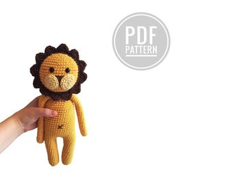 Crochet pattern  - Erik the lion - amigurumi lion - woodland - zoo - jungle animal - pdf