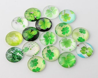 10 Four Leaf Clover Mixed Design Round Glass Cabochons 12mm (060)