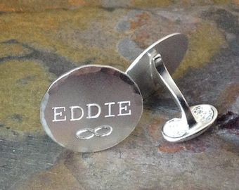 Hand Stamped Personalized Sterling Silver Cuff Links - Name, Symbol - Groom, Groomsman, Father - Customize Your Way