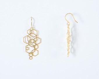 Gold Hexagon Stud Earrings, laser, plating high quality, matte finish.