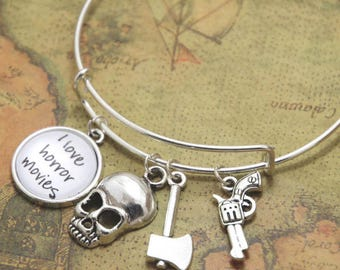 I Love HORROR MOVIES Charm Bangle Bracelet