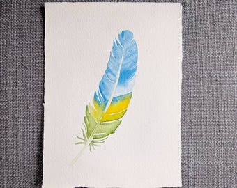 """Original Watercolor Painting - SPRING FEATHER - 4.5"""" x 6"""""""