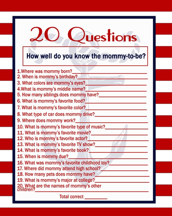 Nautical Baby Shower Game 20 Questions