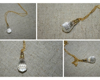 Gold Necklace, Crystal  Necklace, Handmade 14K  Necklace , Yellow gold  Necklace, Birth Stone  Necklace,