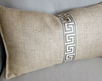 Burlap in greek key trim 10x20 pillow