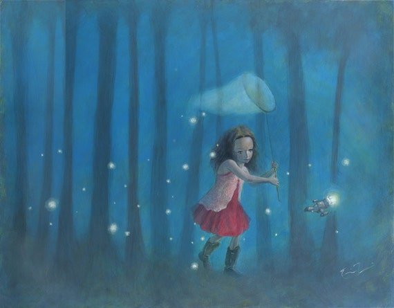 "Firefly Serenity 16x12 Fine Art Print, Firefly Inspired Print, River Tam Painting,  ""Catching Fireflies"" Limited Edition"