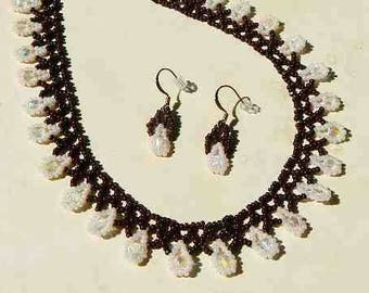 Brown and Pale Pink Hand Beaded Necklace and Matching Earrings