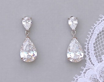 Crystal Drop Earrings, Crystal Bridal Drop Earrings,  Bridal Jewelry, Bridesmaid Earrings, ANNA