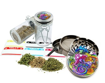"Mushrooms - 2.5"" Zinc Alloy Grinder & 75ml Locking Top Glass Jar Combo Gift Set Item # 110514-0039"