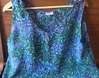 Blue Green Patterned Rayon Tank Top Vintage 1990s