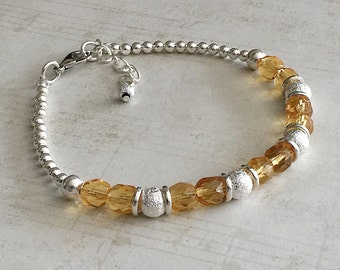 November Birthstone Bracelet, Citrine Bracelet, November Bracelet, November Citrine Birthstone Bracelet, Citrine Bead Bracelet, November