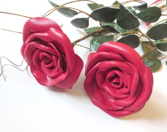 Red Leather Rose,   leather flowers -Wedding 3rd Anniversary Gift Long Stem Flower Valentines Day
