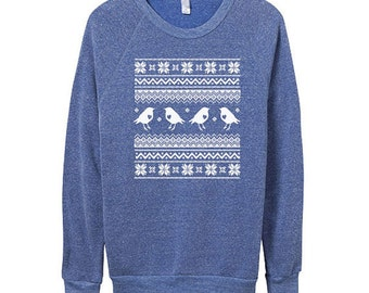 Mens Ugly Christmas Sweater  - Hipster Sweater -  Blue Sweater -  CHRISTMAS sweater- Small, Medium, Large, Extra Large