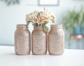 Rose Gold Wedding Decor, Set of 3 Rose Gold Glitter Vases, Rose Gold Decor, Rose Gold Centerpieces,  Bridal Shower, Baby Shower