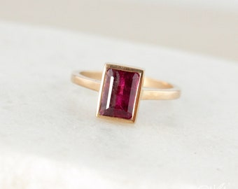 Rose Gold Cranberry Pink Tourmaline Ring - Emerald Cut Tourmaline - Deep Pink Tourmaline, Natural Tourmaline