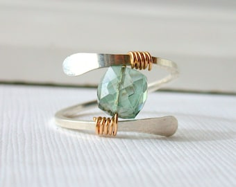 Mystic Forest Quartz Ring. Sterling silver Gemstone Ring. Wire wrapped mystic quartz gemstone ring.