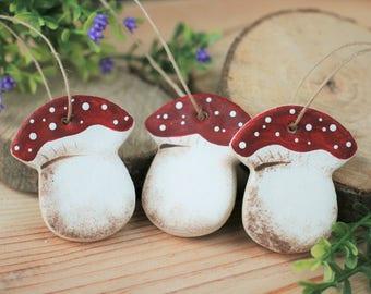 Salt Dough Toadstool hanging Ornaments, tree decorations, Autumn tree decor, Christmas hanging decorations, Toadstools favors Woodland