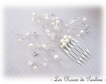 Hair comb bridal white Silver flower and leaves 'Twist'