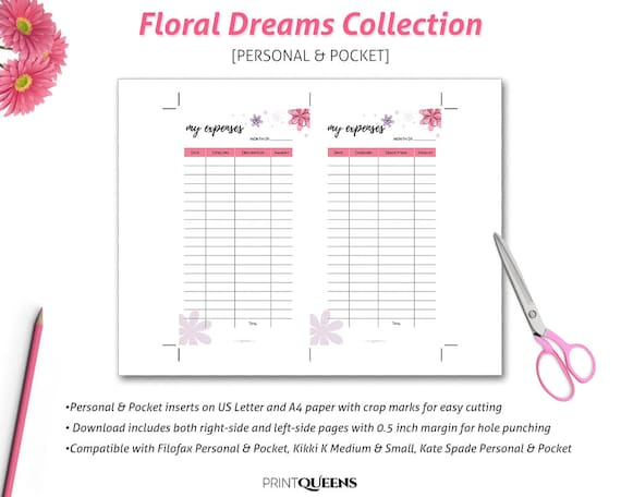 Expense Tracker Printable, Expense Report, Monthly Expense, Expenses Sheet,  Expenses Log, Filofax Personal Size Insert, Pocket Size Insert,  Printable Expense Report