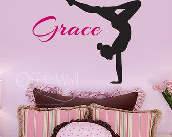 Personalized Gymnast Decal - Monogram wall decal - girl name - custom decal - teen girl wall decor - wall decor for gymnast