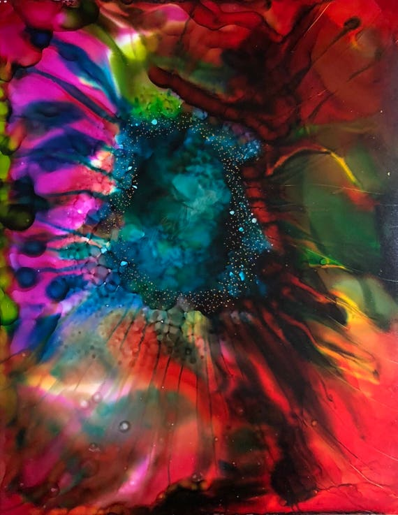 """Original Alcohol Ink Abstract Painting: """"Liberation"""" (11"""" X 14"""")"""