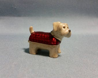 Monet Trinket Box Terrier with Red Blanket