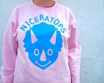 Nice Dinosaur Jumper, Niceratops, Triceratops Jumper, Dinosaur Sweater, Pink Dinosaurs Sweatshirt, Happy Dinosaur, Fun Pale Pink jumper