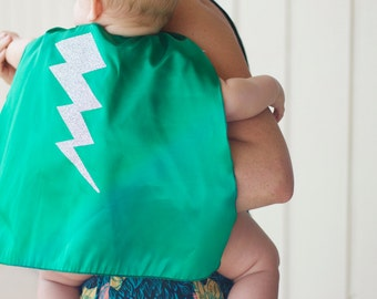 Baby Halloween Costume - Ships Fast - Baby or Toddler Bolt SUPERHERO CAPE - Lightning bolt cape - 6 color choices - Photo prop