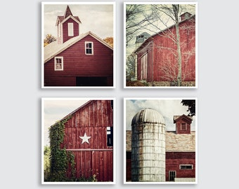 Red Wall Art Living Room Print or Canvas Set of 4 Red Farmhouse Decor Wall Art Prints Vertical Rustic Home Decor Red Barn Prints Country.
