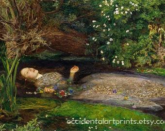 Ophelia Wall Art Print, Oil Painting Fine Art Reproduction, Home Decor, John Everett Millais, Giclee Fine Art Print, Office Art Print