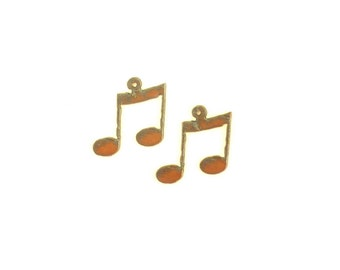 Music Note Rusty Metal Earrings (Sold As A Pair)