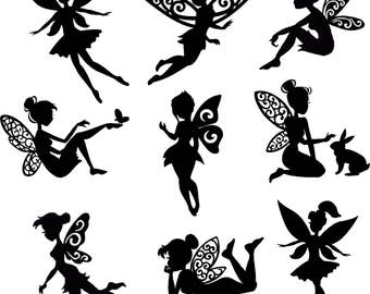 Fairy Die Cut  Out Silhouette - Assorted Fairy Cutout x 10. Great for card making, scrapbooking, fairy jar, embellishments, party favours
