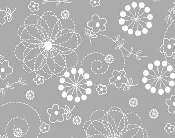 By The HALF YARD- Little One FLANNEL Too! by Kim Christopherson of Kimberbell for Maywood,#F8229-K Lil' Sprout, White Floral Doodles on Gray