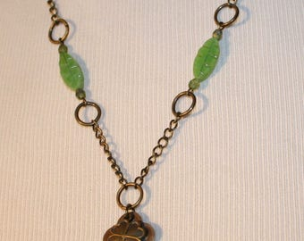 Vintage Key with Shamrock and Green Glass Beads