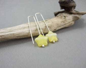 Handmade Yellow Star Earrings - Czech Glass and Sterling Silver Pale Yellow Stars