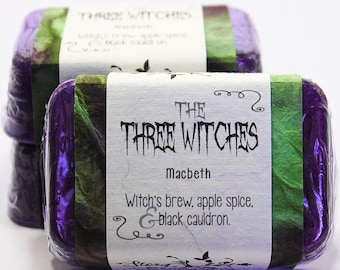 The Three Witches, Weird Sisters, Macbeth, Shakespeare, Halloween Glycerin Soap Bar - Handmade Custom Play Character Scent - Purple, potions