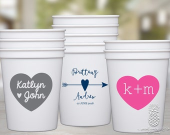 Personalized Heart Party Favor Cups
